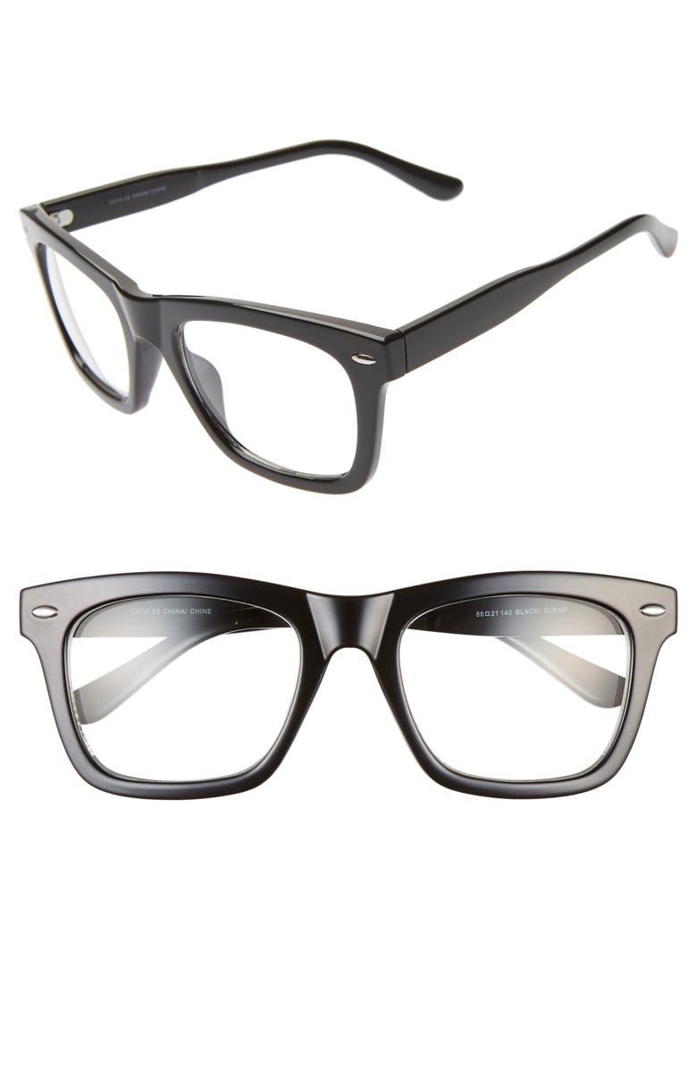 THE RAIL Julian 55mm Square Sunglasses, Main, color, BLACK/ CLEAR