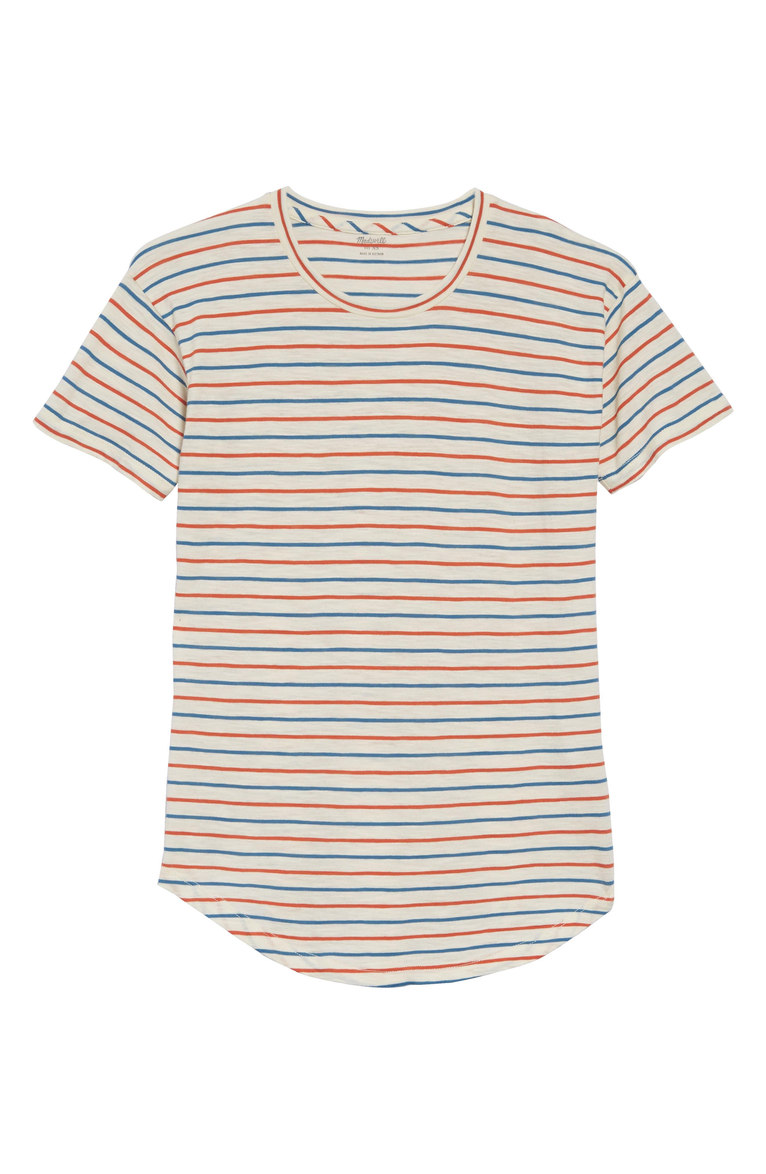 ,                             Whisper Cotton Stripe Crewneck Tee,                             Alternate thumbnail 3, color,                             900