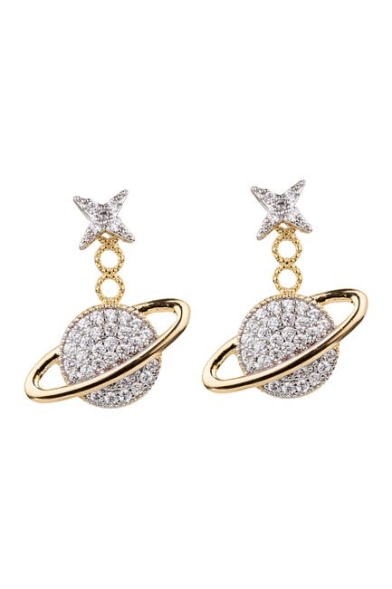 Image of Eye Candy Los Angeles Take Me To Saturn 18K Gold Plated CZ Crystal Drop Earring