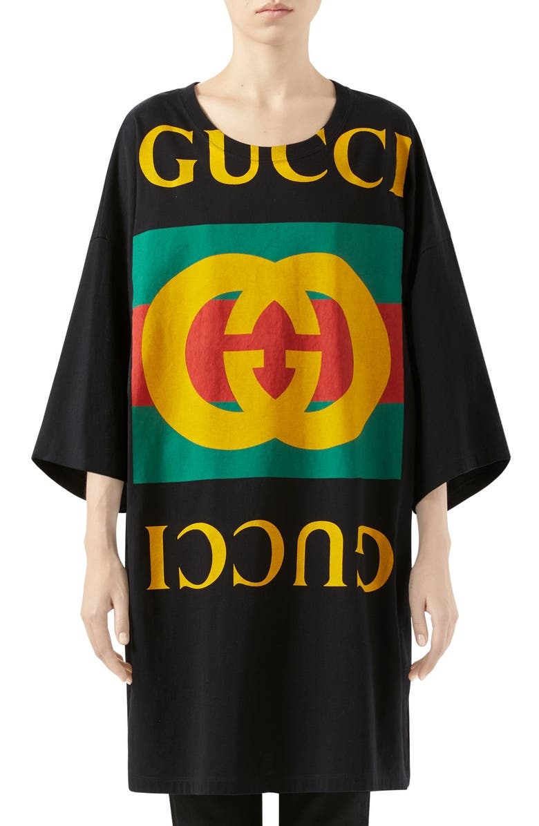 GUCCI GG Logo Oversize Cotton Tee, Main, color, BLACK/ MULTICOLOR