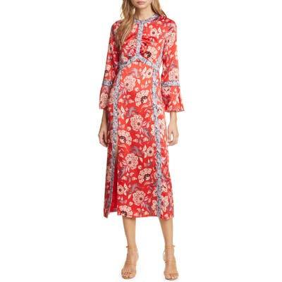 Cinq A Sept Smyth Snake Trim Paisley Midi Dress, Red