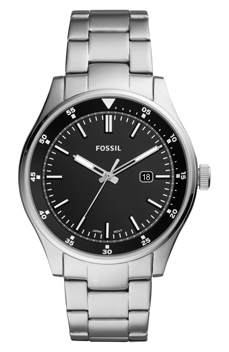 FOSSIL Belmar Bracelet Watch, 44mm, Main, color, SILVER/ BLACK/ SILVER