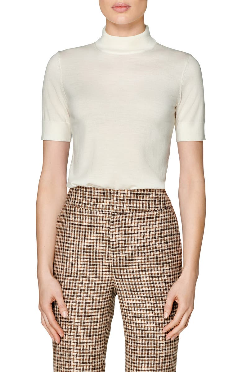 SUISTUDIO Doris Short Sleeve Merino Wool Sweater, Main, color, WHITE