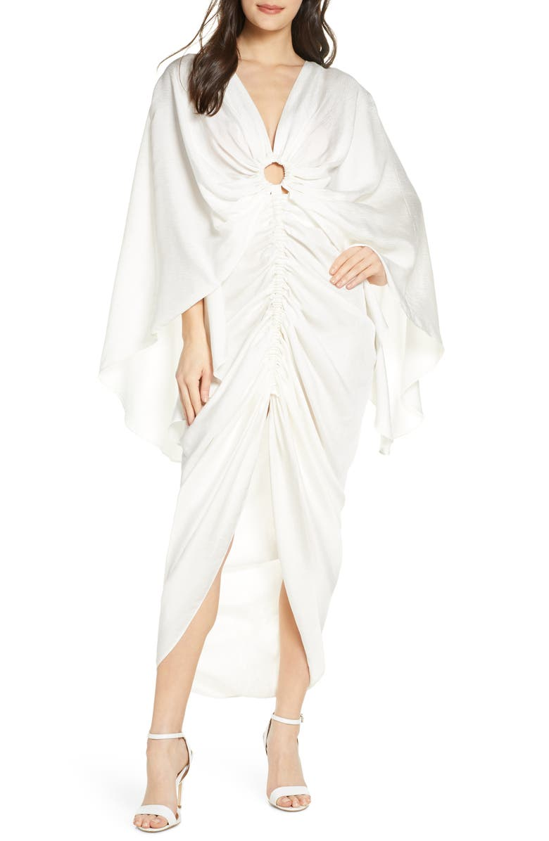 SIGNIFICANT OTHER Hamilton Ruched Crinkle Satin Gown, Main, color, IVORY