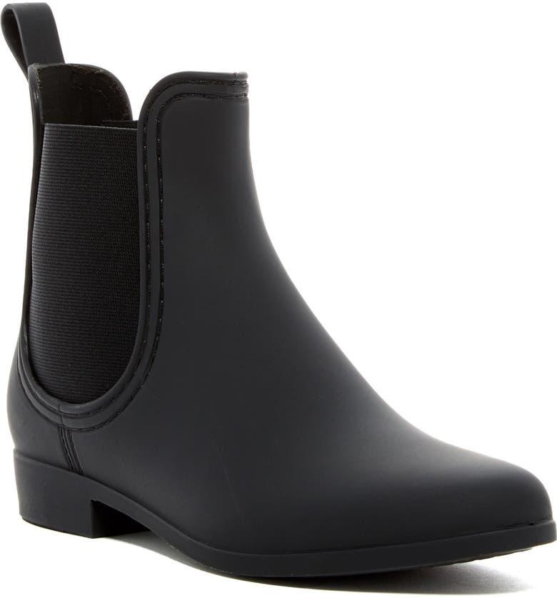 JEFFREY CAMPBELL Forecast Chelsea Waterproof Rain Boot, Main, color, BLK MATTE