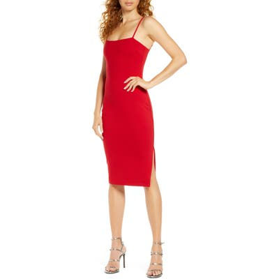 Lulus Paulina Square Neck Cocktail Sheath Dress, Red