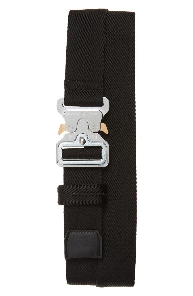 1017 ALYX 9SM Logo Jacquard Roller Coaster Belt, Main, color, BLACK/SILVER