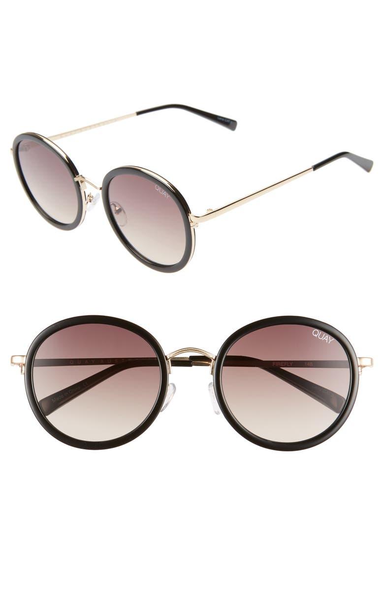 QUAY AUSTRALIA Firefly 52mm Round Sunglasses, Main, color, 001