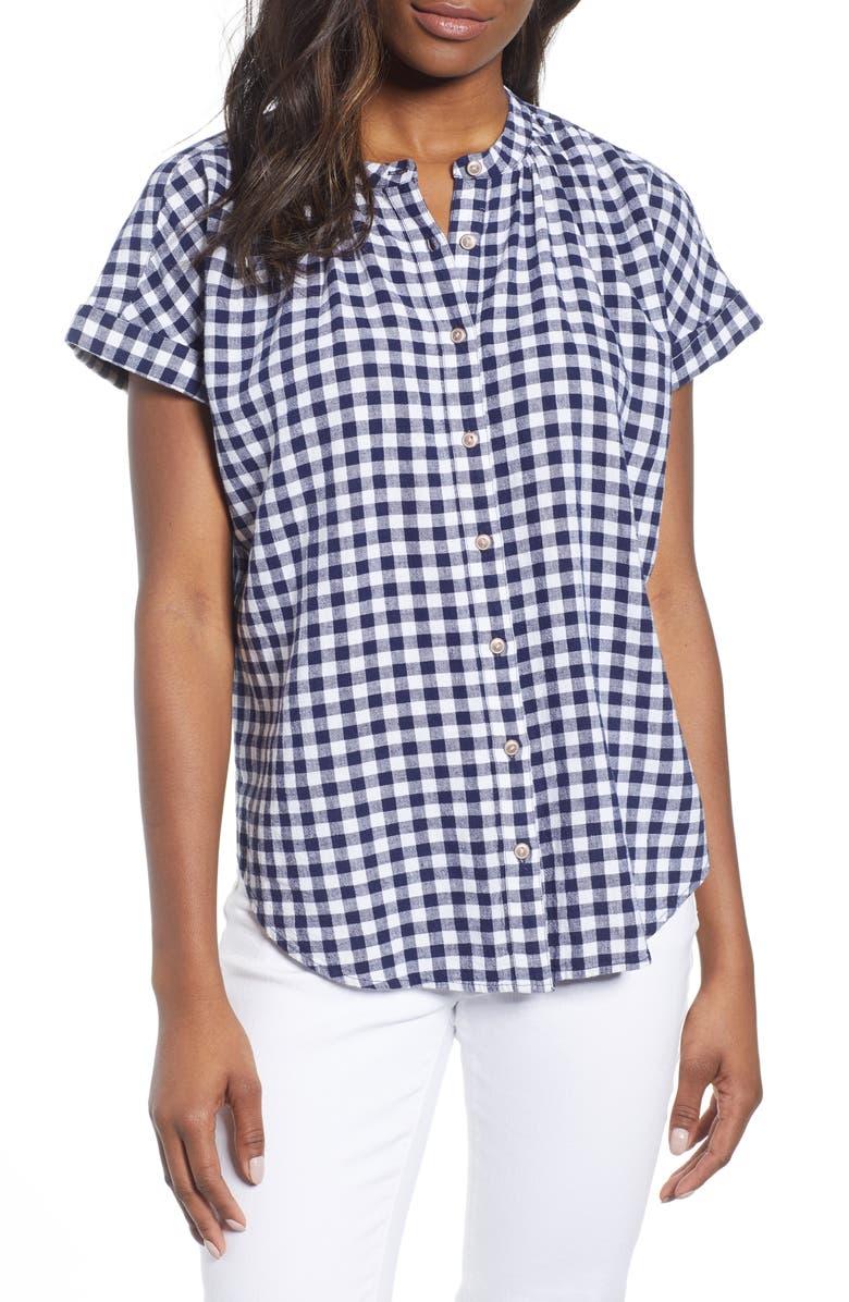 CASLON<SUP>®</SUP> Woven Linen Blend Camp Shirt, Main, color, 410