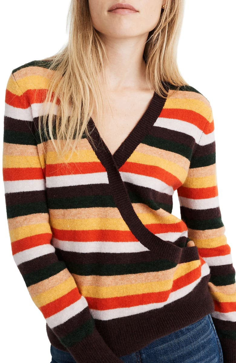 MADEWELL Wrap Front Stripe Pullover, Main, color, HEATHER PALM