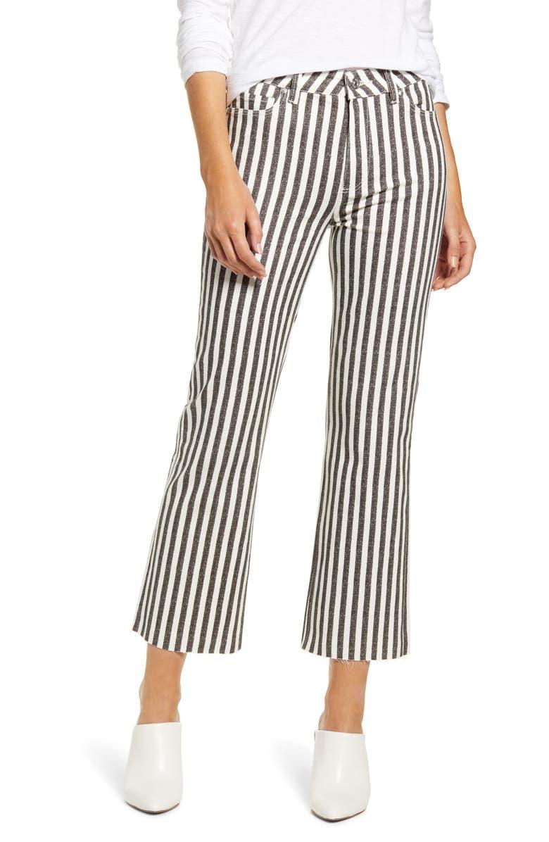 PAIGE Atley High Waist Raw Hem Ankle Flare Jeans, Main, color, COVE STRIPE