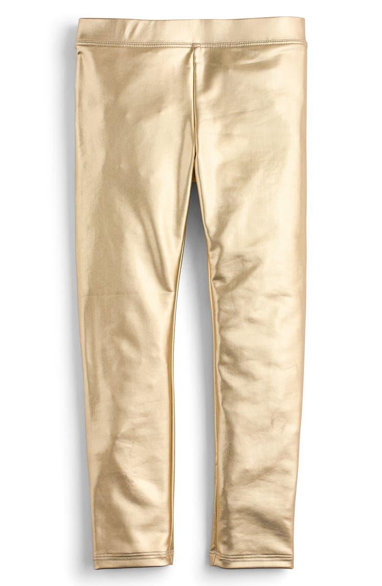 CREWCUTS BY J.CREW Metallic Leggings, Main, color, GOLD KA3442