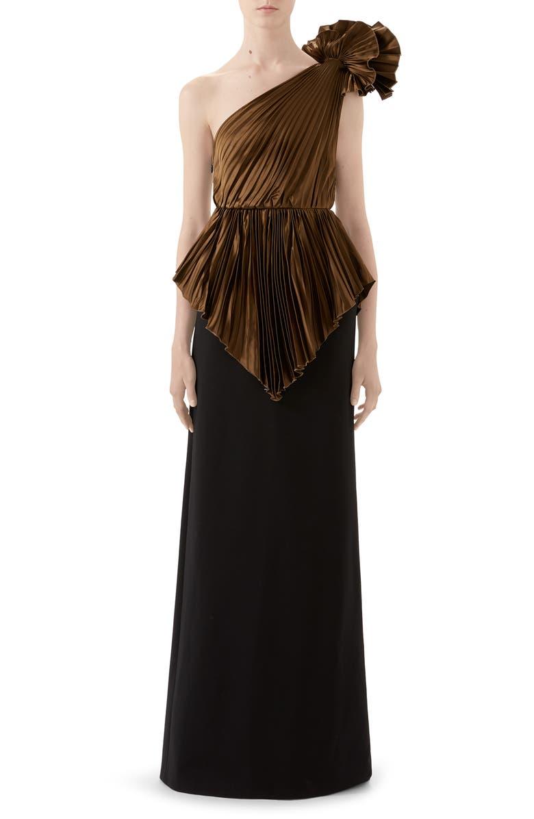 GUCCI Plissé One-Shoulder Gown, Main, color, BROWN/ BLACK