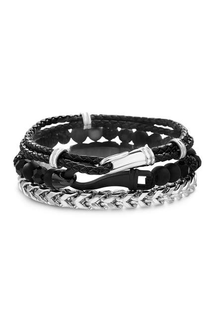Image of Steve Madden Oxidized Chained/ Tri Colored Beaded / Braided Leather Hooked Trio Bracelet Set