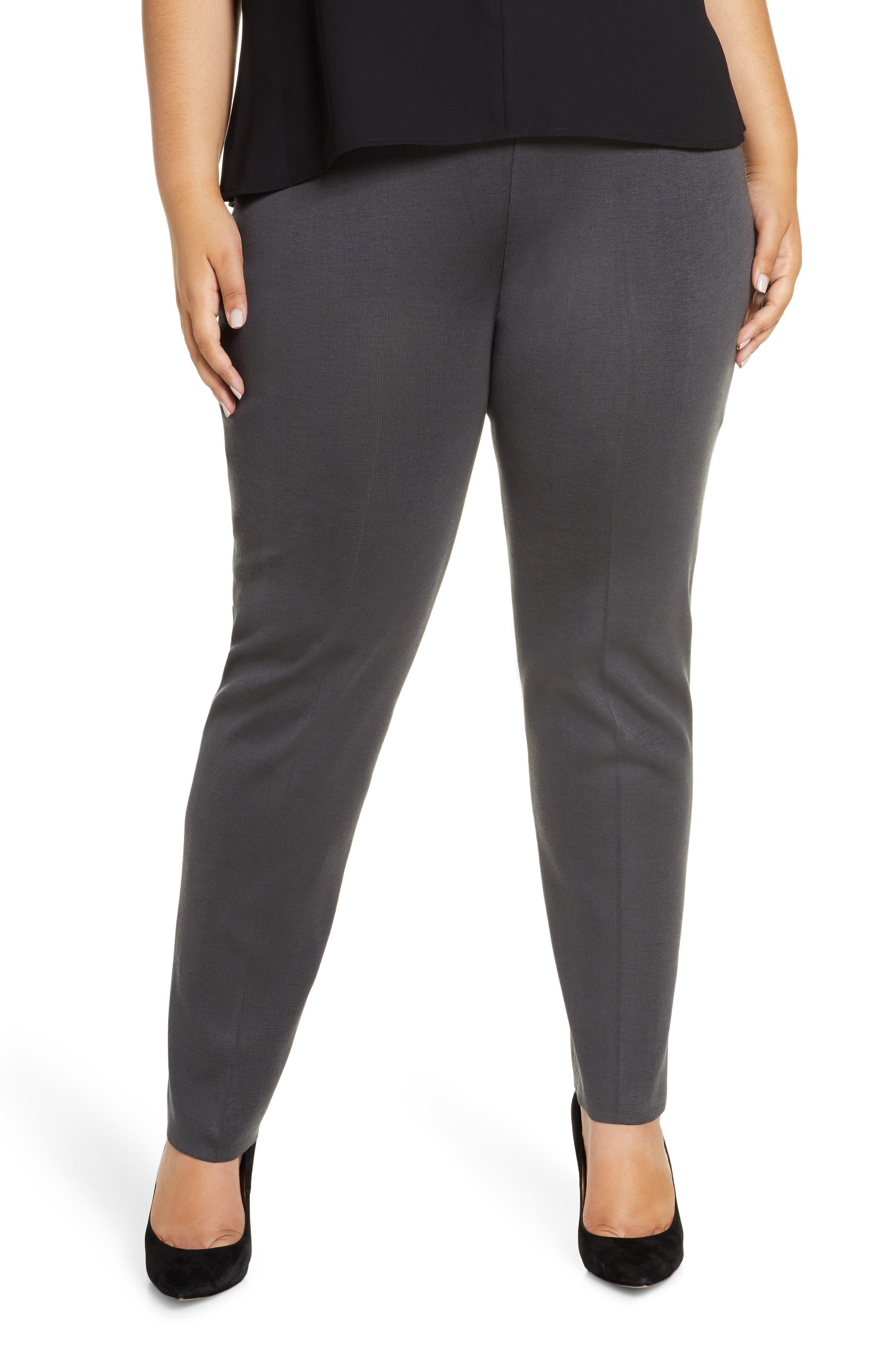 Plus  Women's Ming Wang Straight Leg Knit Pants,  0X - Grey