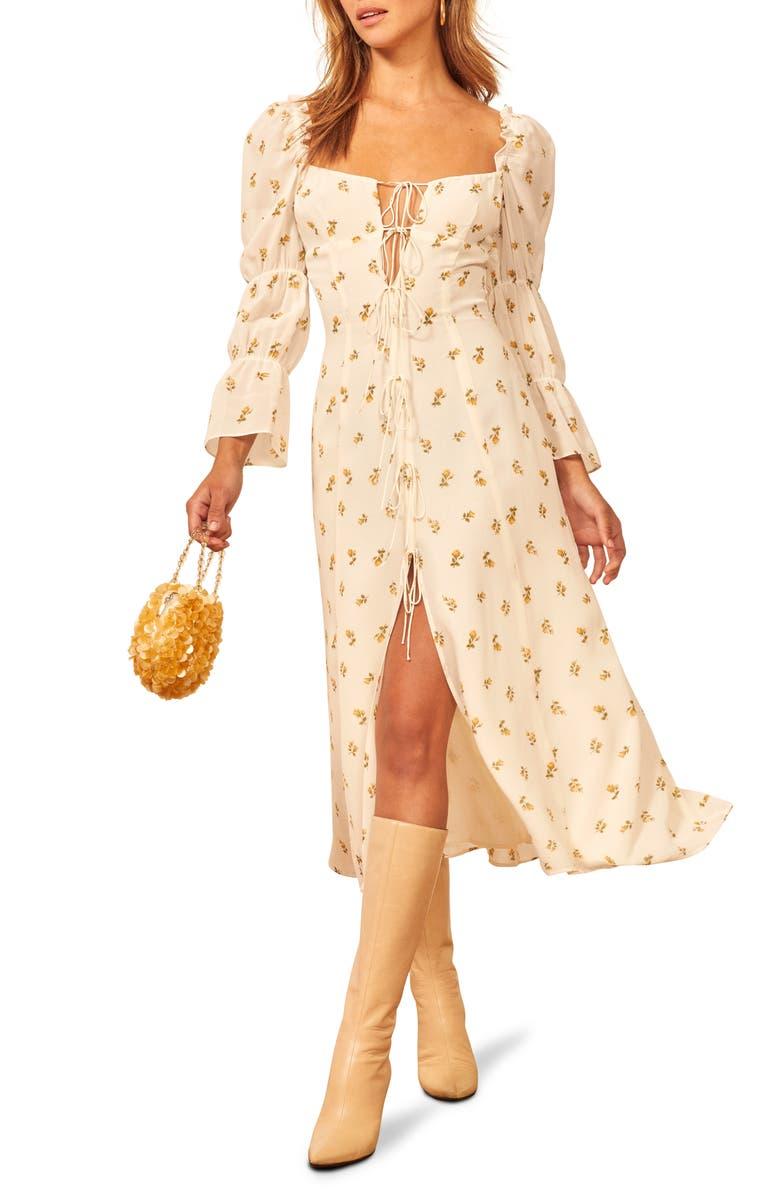 REFORMATION Roberta Midi Dress, Main, color, ROSEBUD