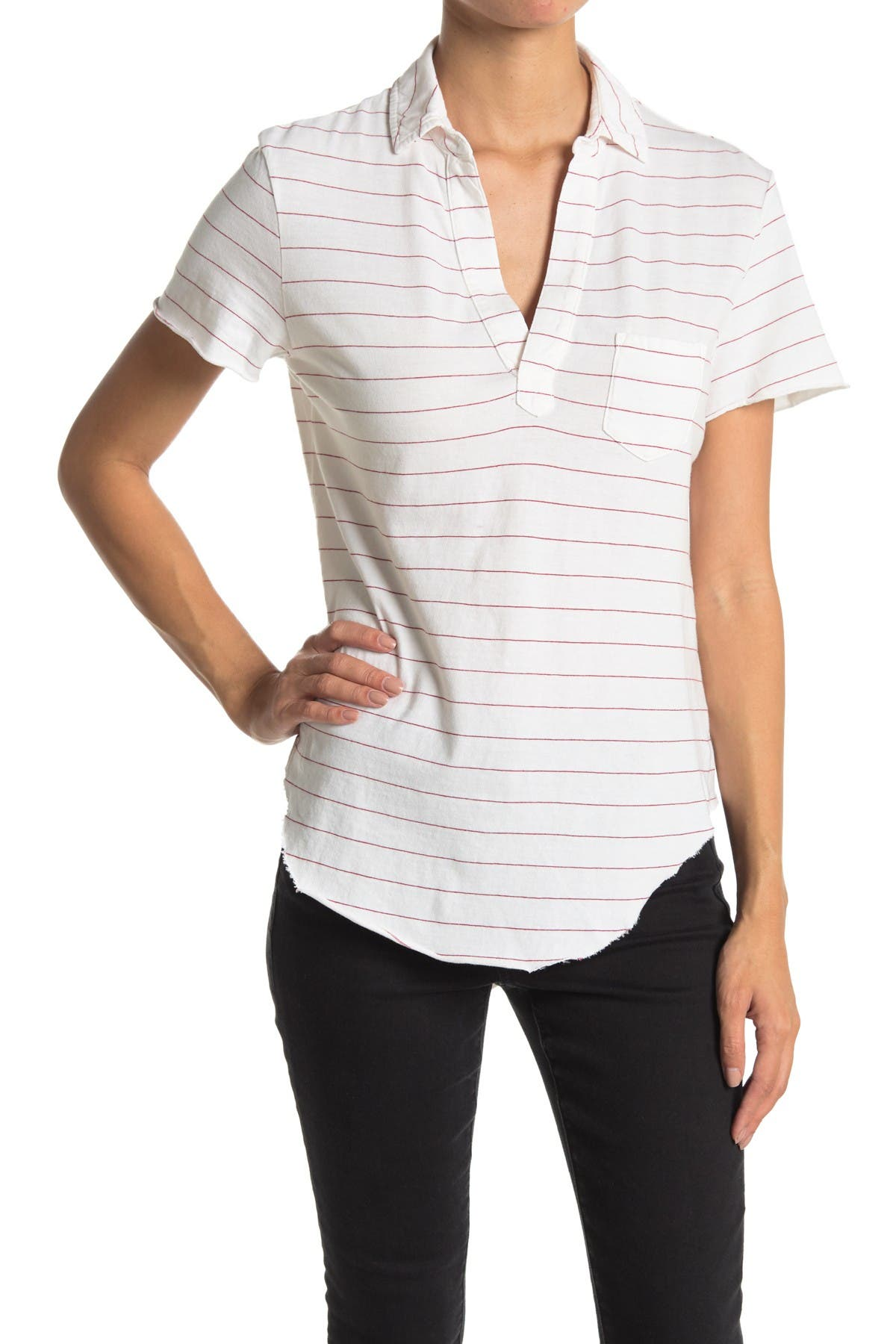 Image of FRANK & EILEEN Striped Curved Hem Jersey Polo