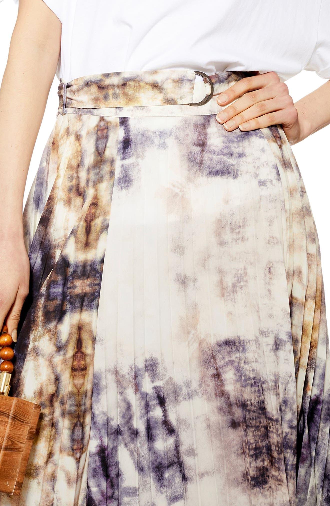 ,                             Tie Dye Midi Skirt,                             Alternate thumbnail 3, color,                             GREY MULTI