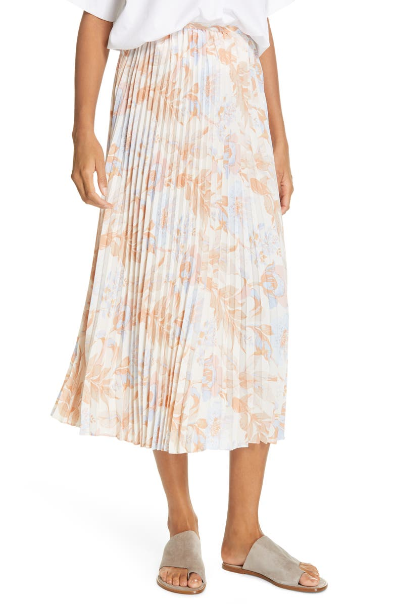 Vince Marine Garden Pleated Midi Skirt