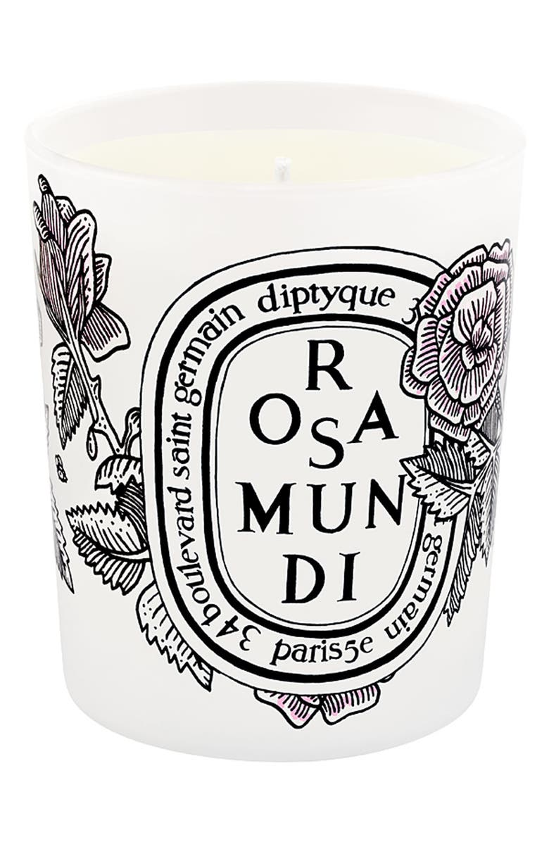 DIPTYQUE 'Rosa Mundi' Scented Candle, Main, color, 000