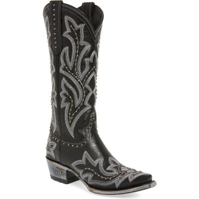 Lane Boots Saratoga Stud Western Boot, Black