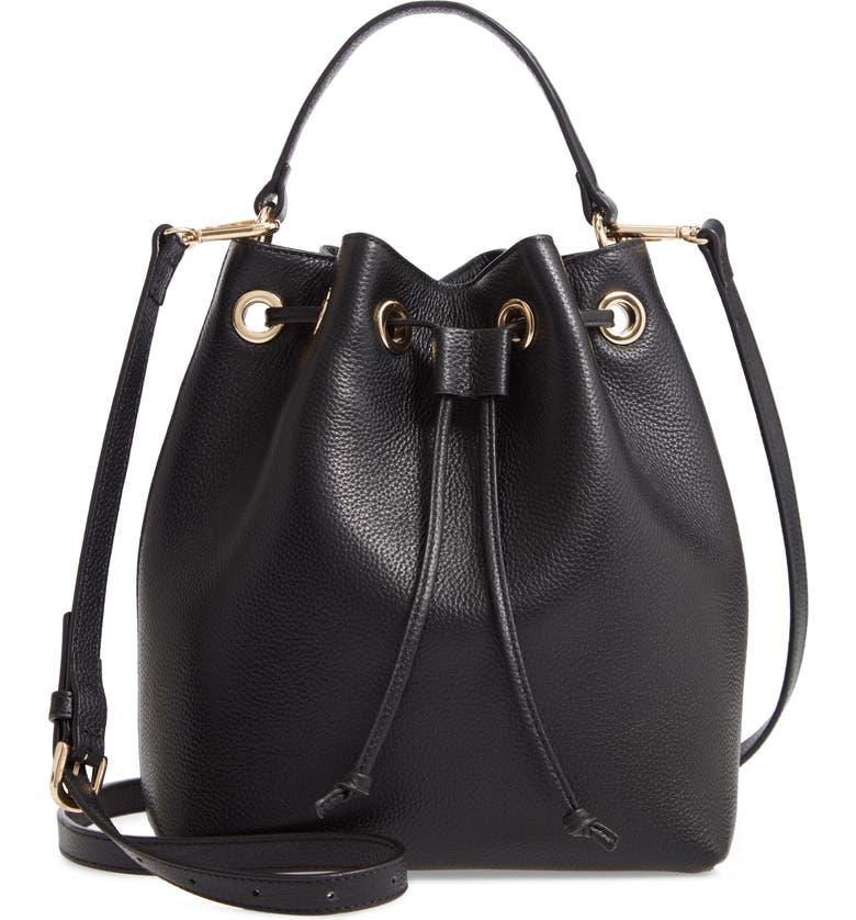 NORDSTROM Delilah Leather Bucket Bag, Main, color, BLACK