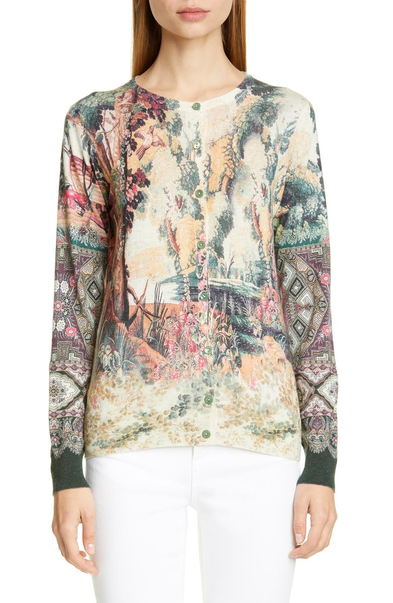 ETRO Paisley Print Silk & Cashmere Cardigan, Main, color, MULTI