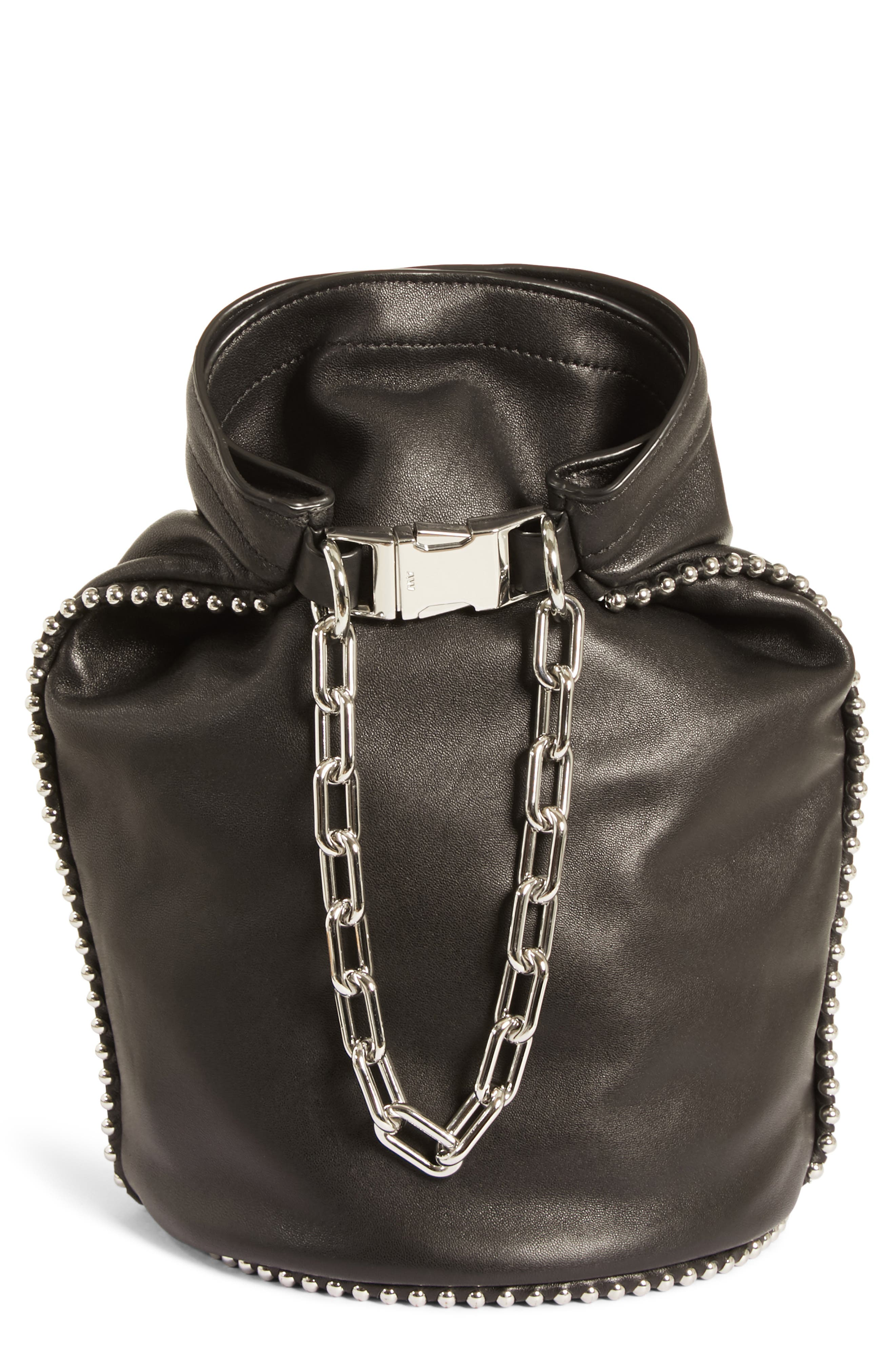 Attica Dry Sack Leather Bucket Bag, Main, color, BLACK