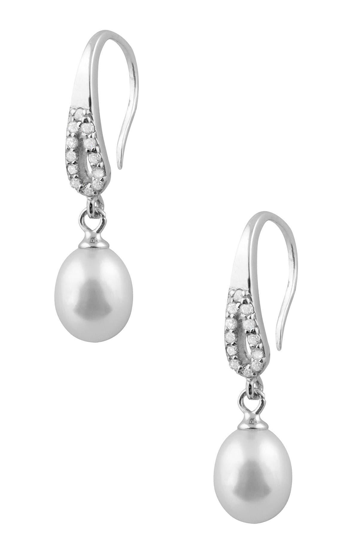 Image of Splendid Pearls 7.5-8mm Freshwater Pearl & CZ Drop Earrings