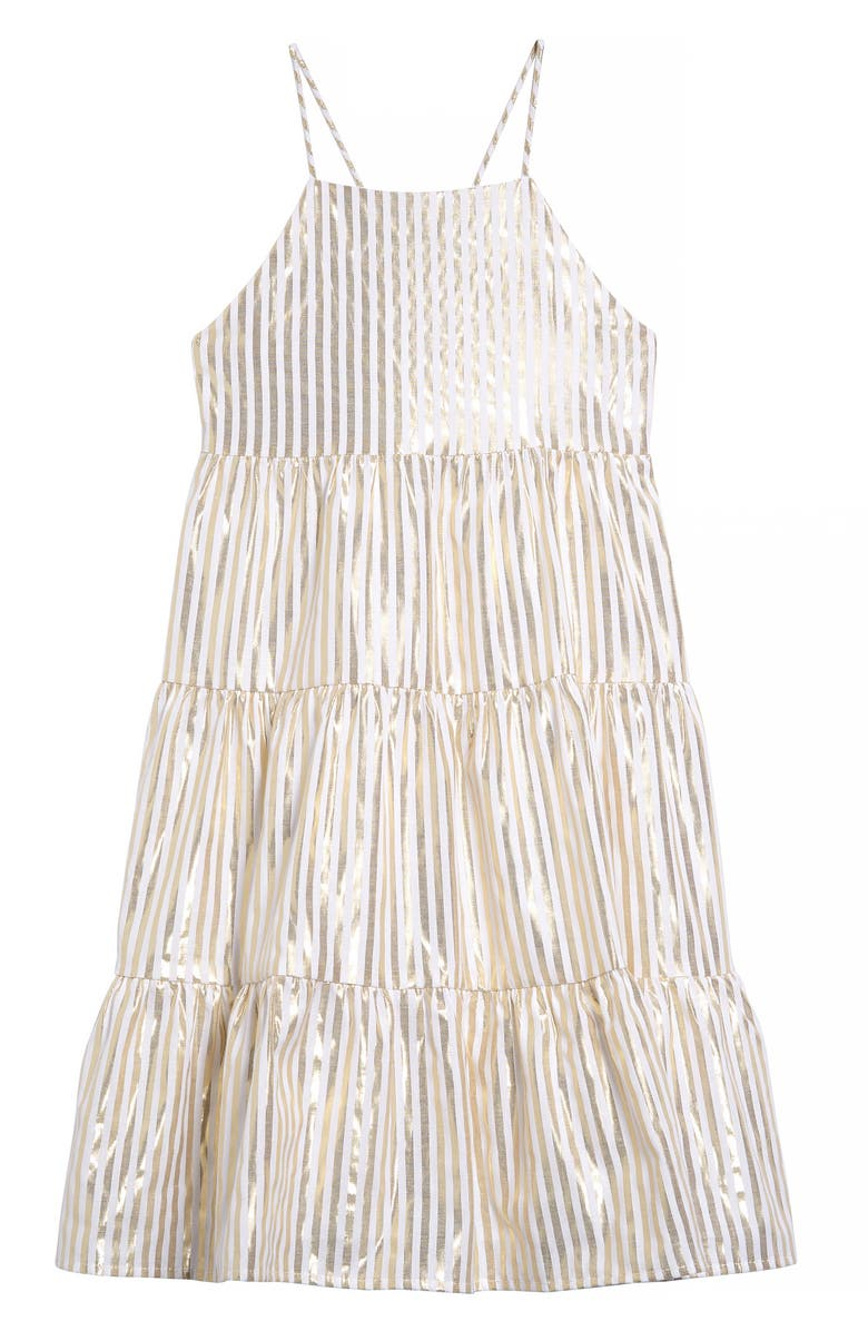 SEED HERITAGE Metallic Stripe Dress, Main, color, GOLD