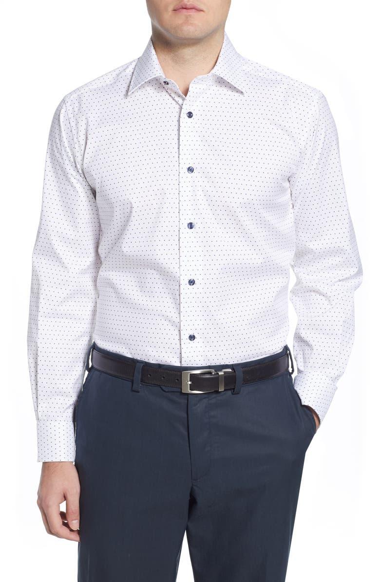 DAVID DONAHUE Regular Fit Dot Dress Shirt, Main, color, WHITE/NAVY