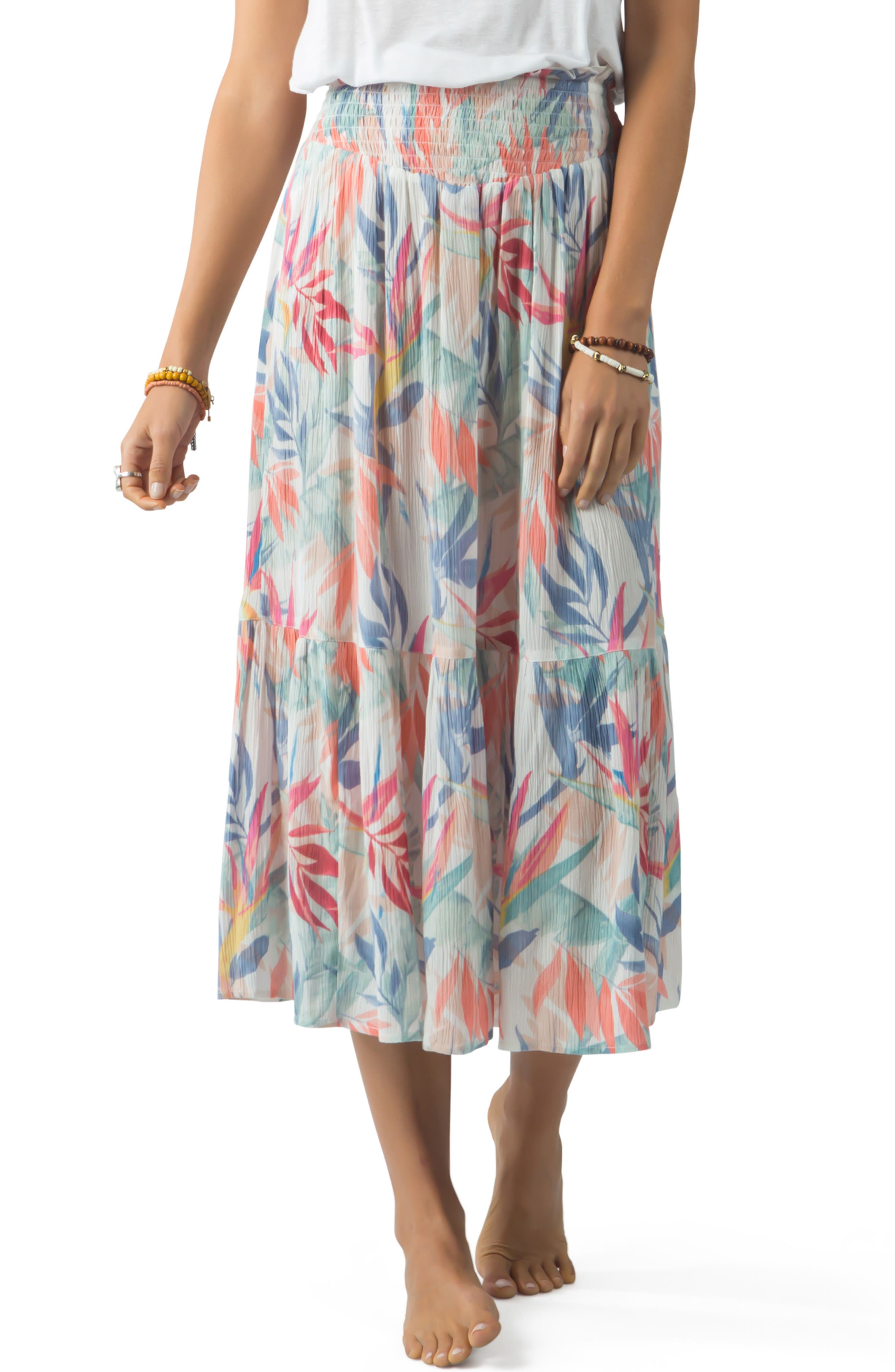 Rip Curl Sea Breeze Tiered Midi Skirt, White