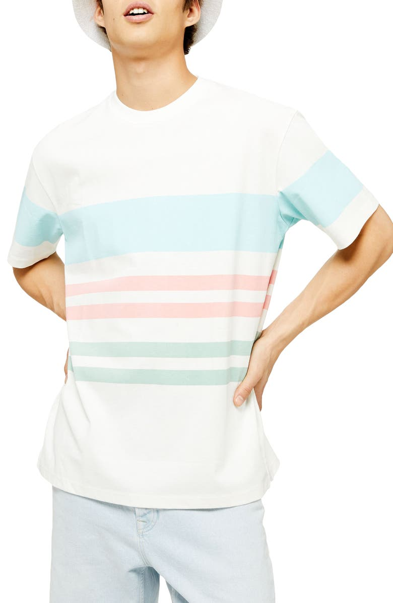 TOPMAN Tedium Stripe T-Shirt, Main, color, CREAM MULTI
