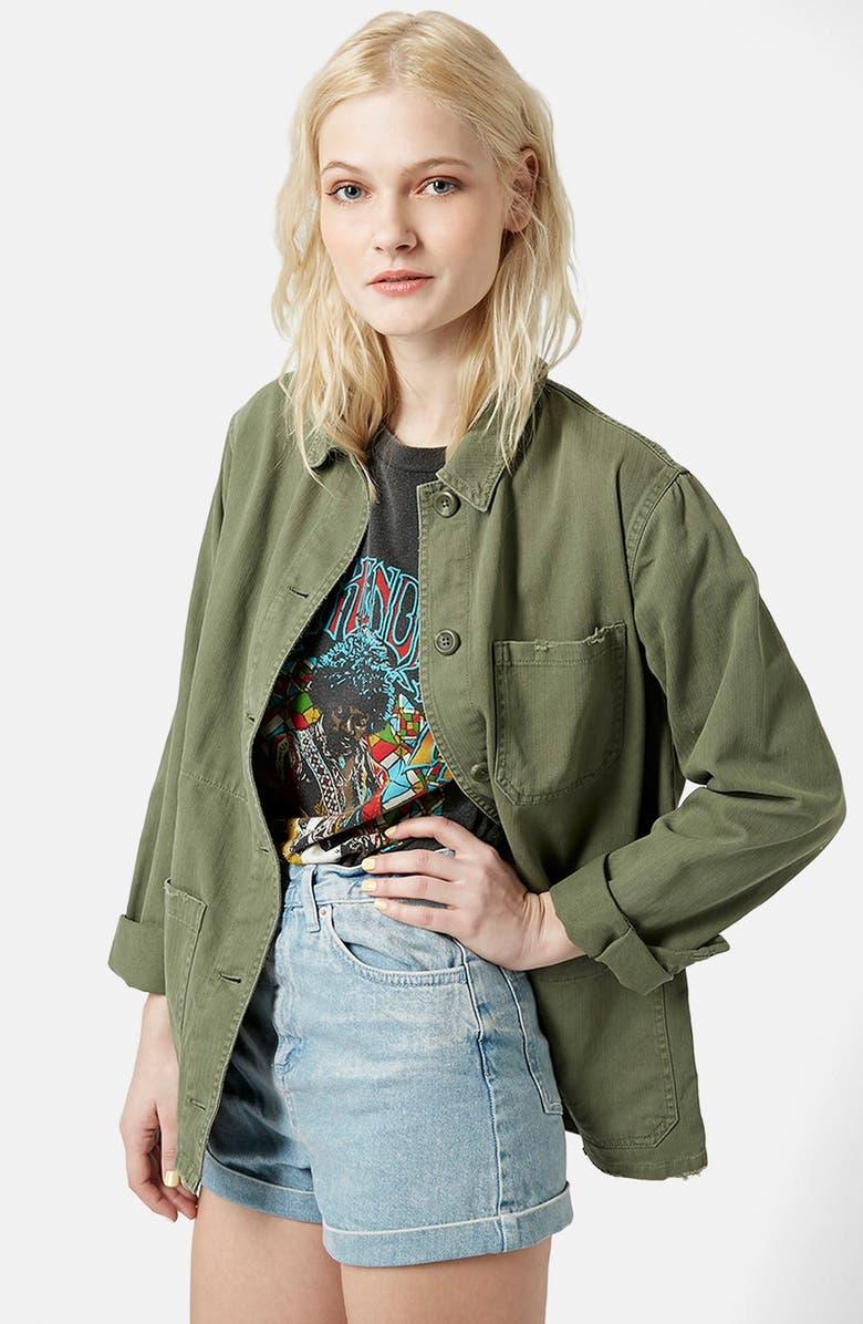 TOPSHOP 'Saunders' Long Shirt Jacket, Main, color, 300