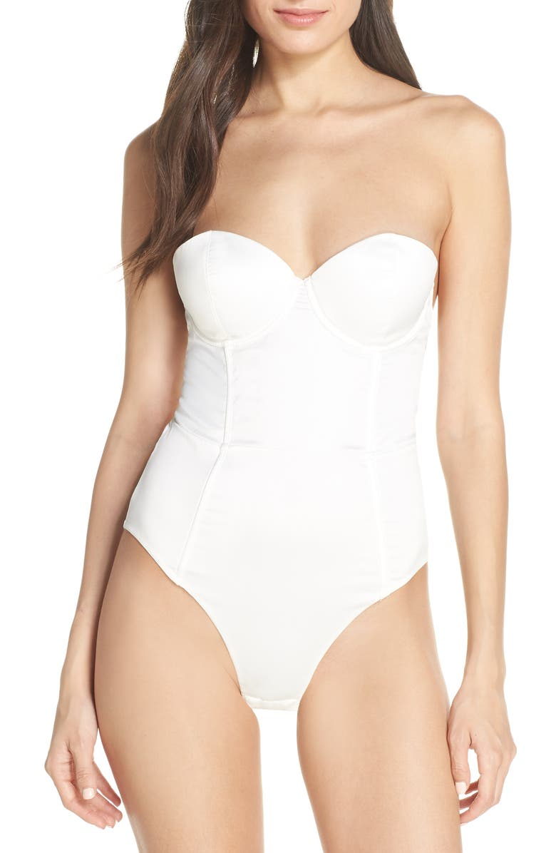 HOMEBODII Brooklyn Satin Bodysuit, Main, color, WHITE