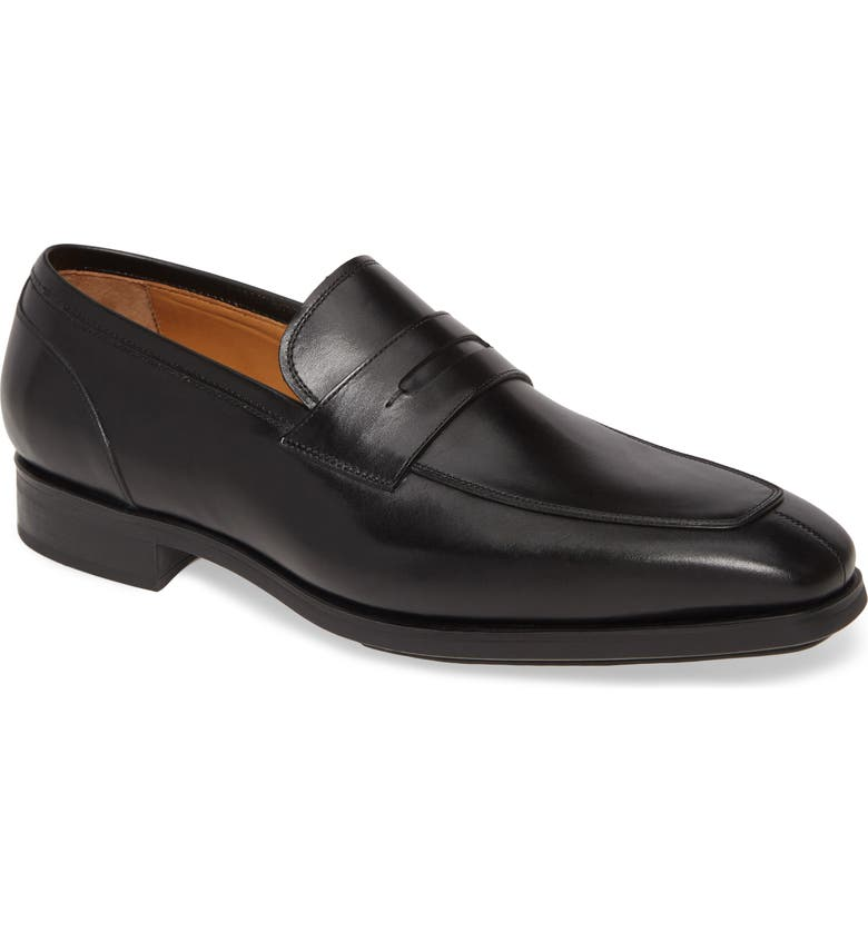 MAGNANNI Rodgers Diversa Penny Loafer, Main, color, BLACK LEATHER