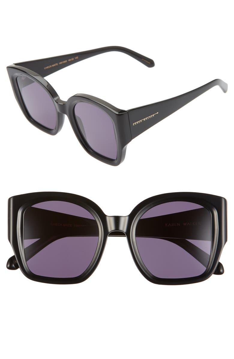 KAREN WALKER Checkmate 49mm Sunglasses, Main, color, BLACK
