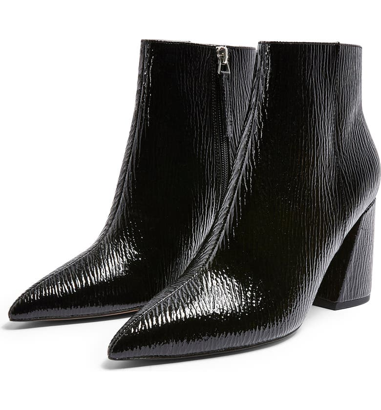 TOPSHOP Hackney Point Bootie, Main, color, BLACK