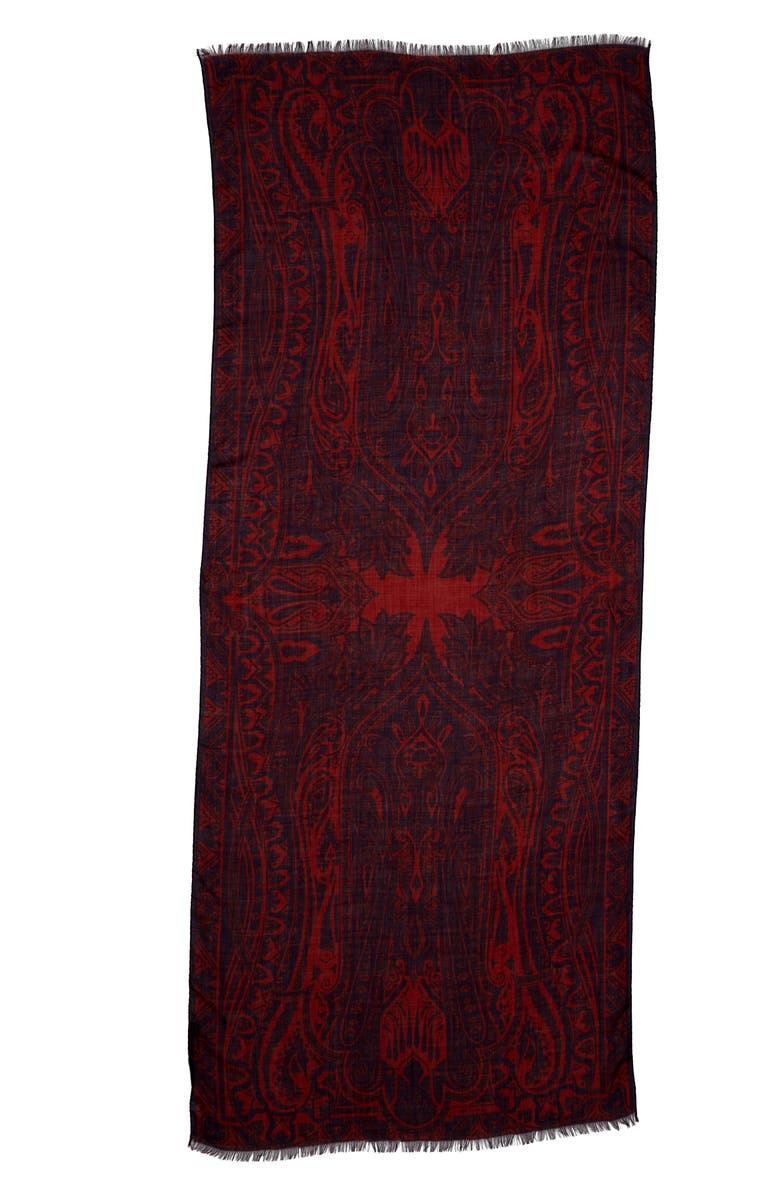 ETRO Paisely Cashmere Scarf, Main, color, NAVY/ RED