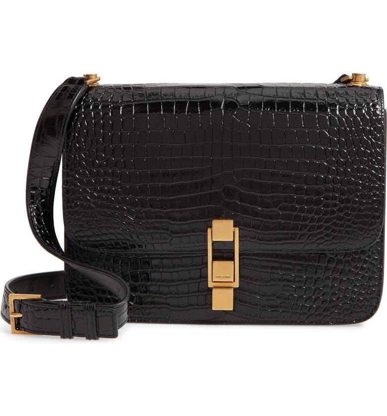 SAINT LAURENT Carre Croc Embossed Leather Shoulder Bag, Main, color, NOIR