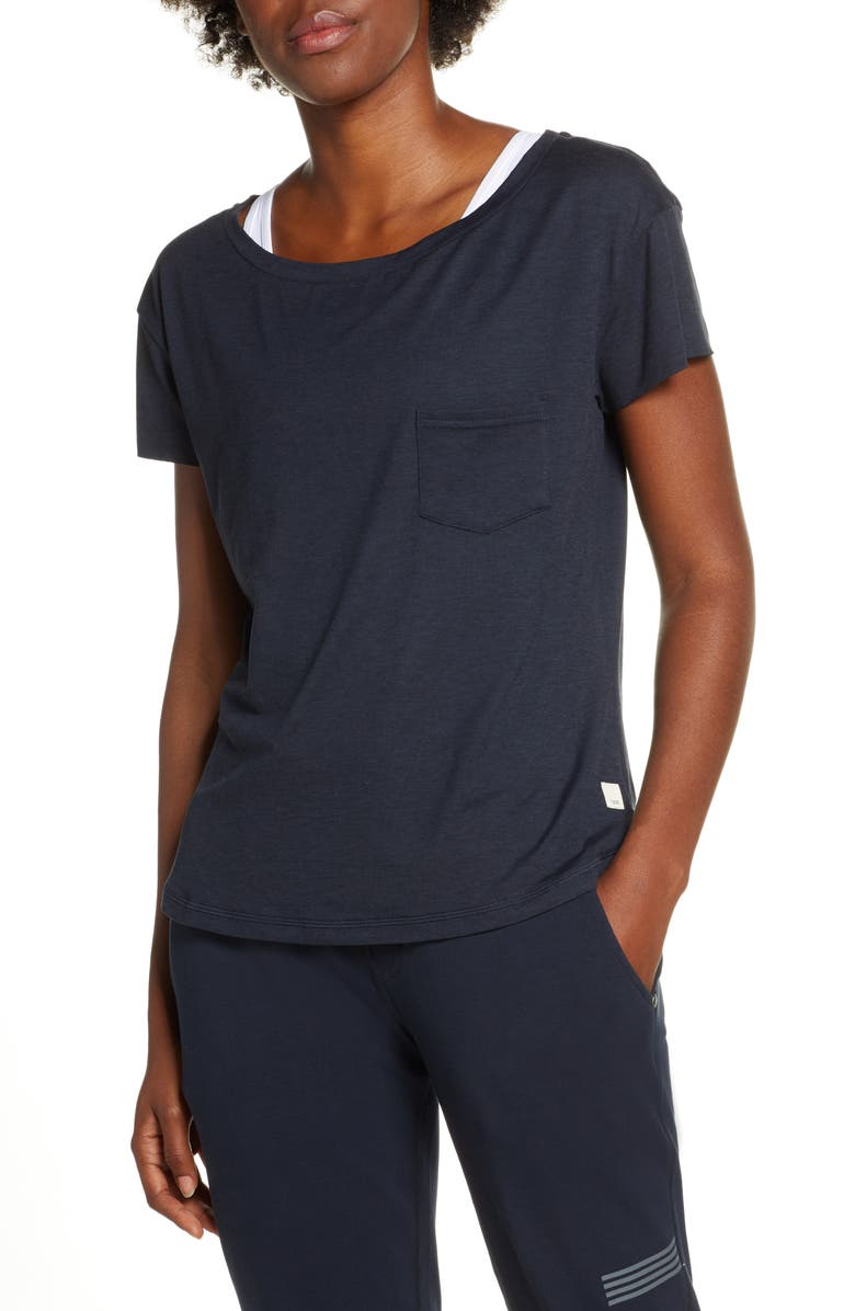 VUORI Lux Performance Tee, Main, color, INK HEATHER