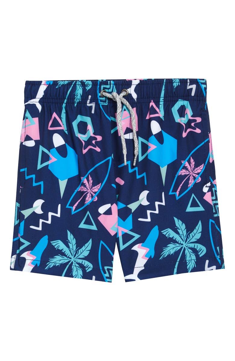 VINTAGE SUMMER Nautical Print Swim Trunks, Main, color, NAVY