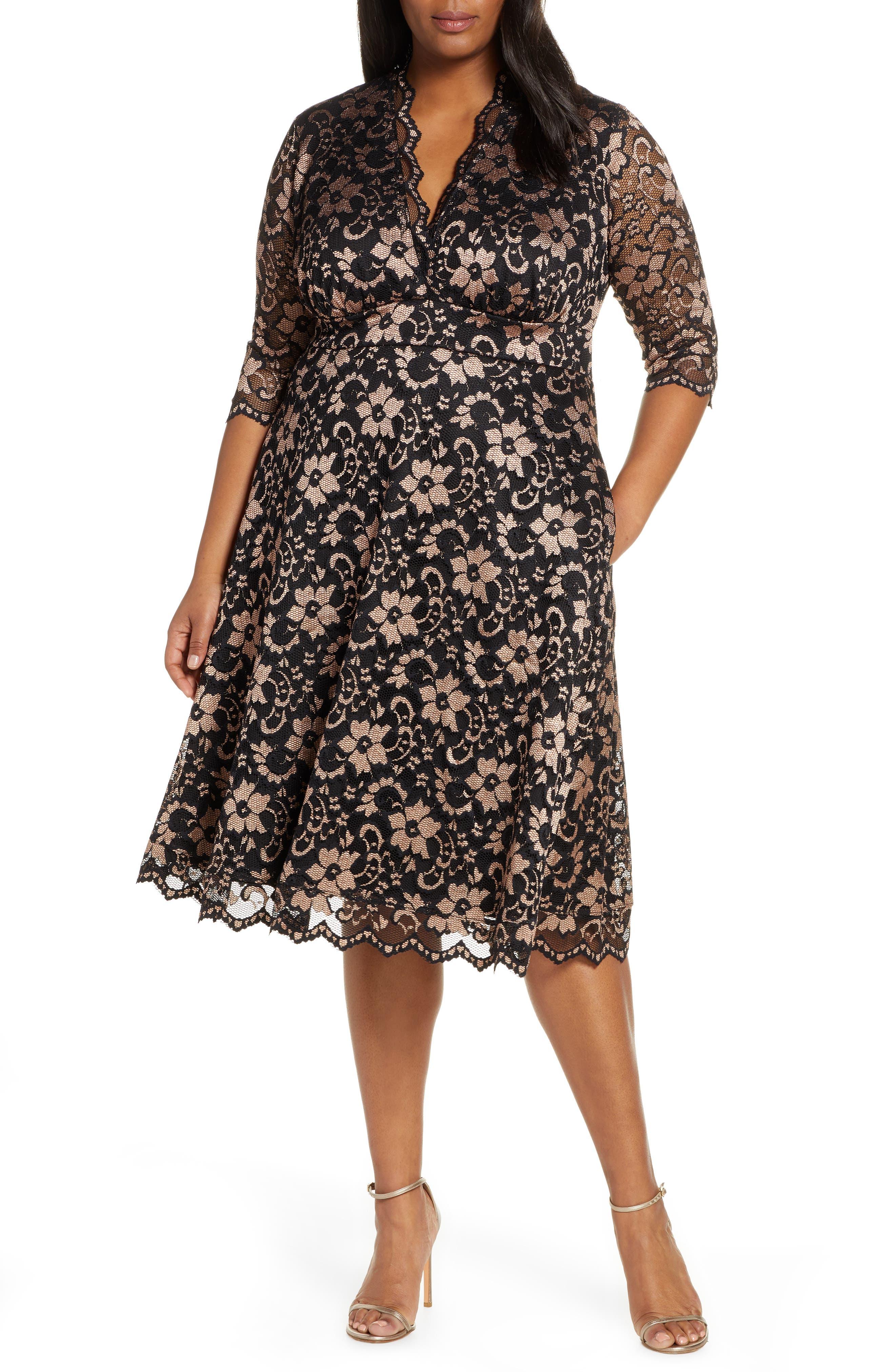 60s 70s Plus Size Dresses, Clothing, Costumes Plus Size Womens Kiyonna Mon Cheri Lace Cocktail Dress Size 2X - Black $168.00 AT vintagedancer.com