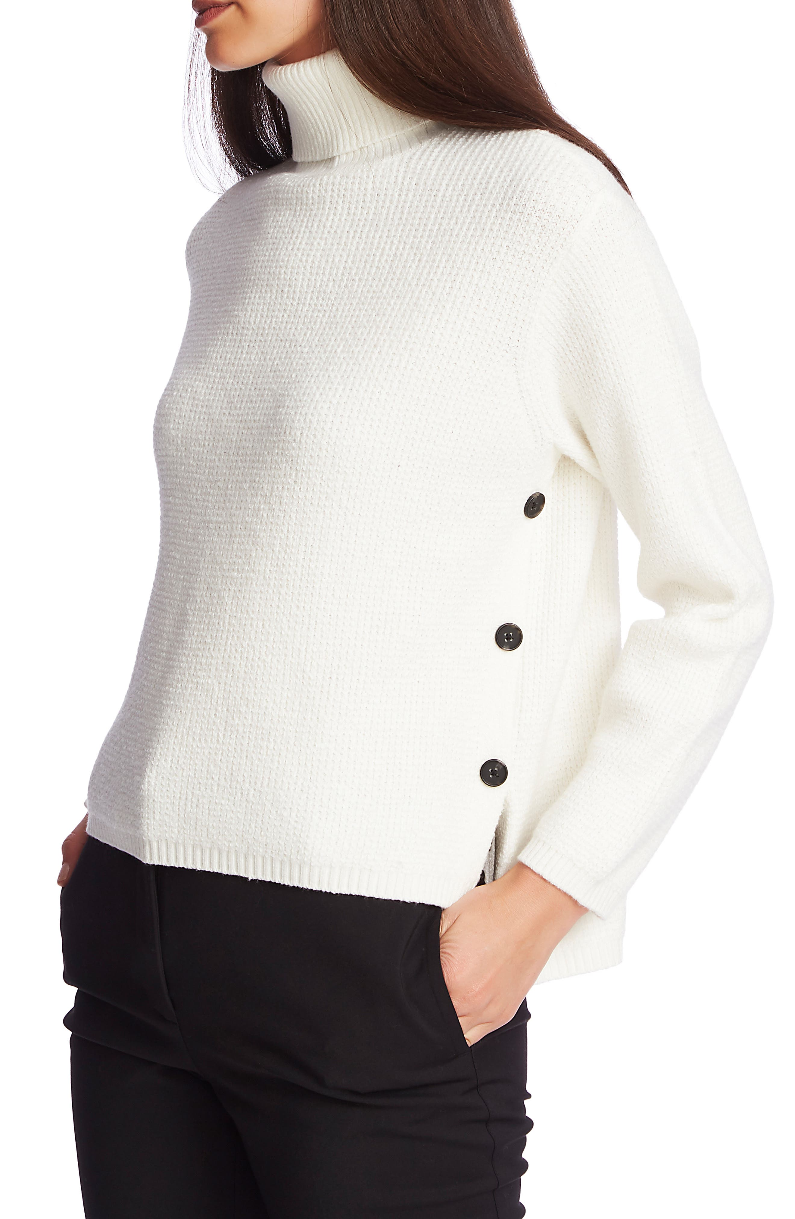 Image of 1.State Side Button Waffle Weave Turtleneck Sweater