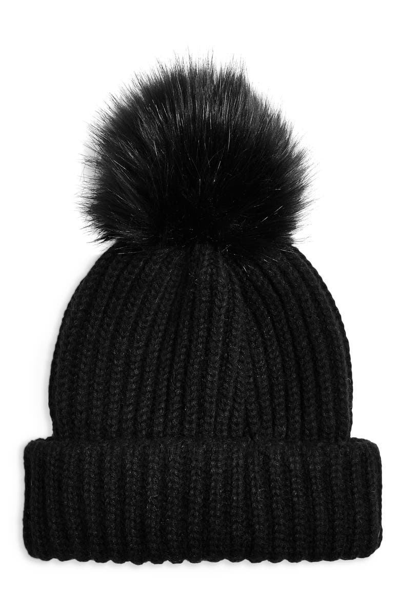 TOPSHOP Faux Fur Pom Beanie, Main, color, BLACK