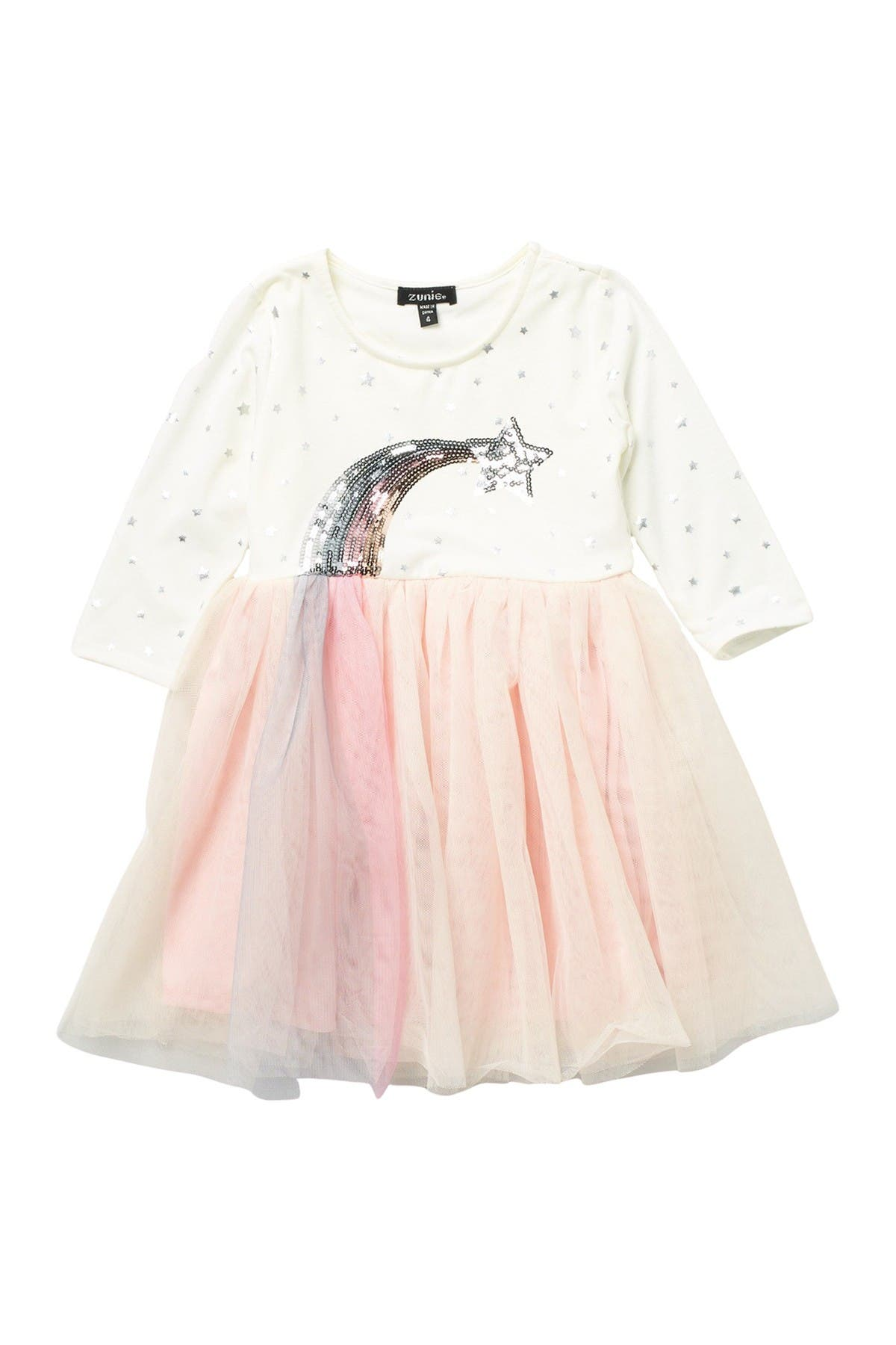 Image of Zunie 3/4 Sleeve Tutu Sequin Star Dress