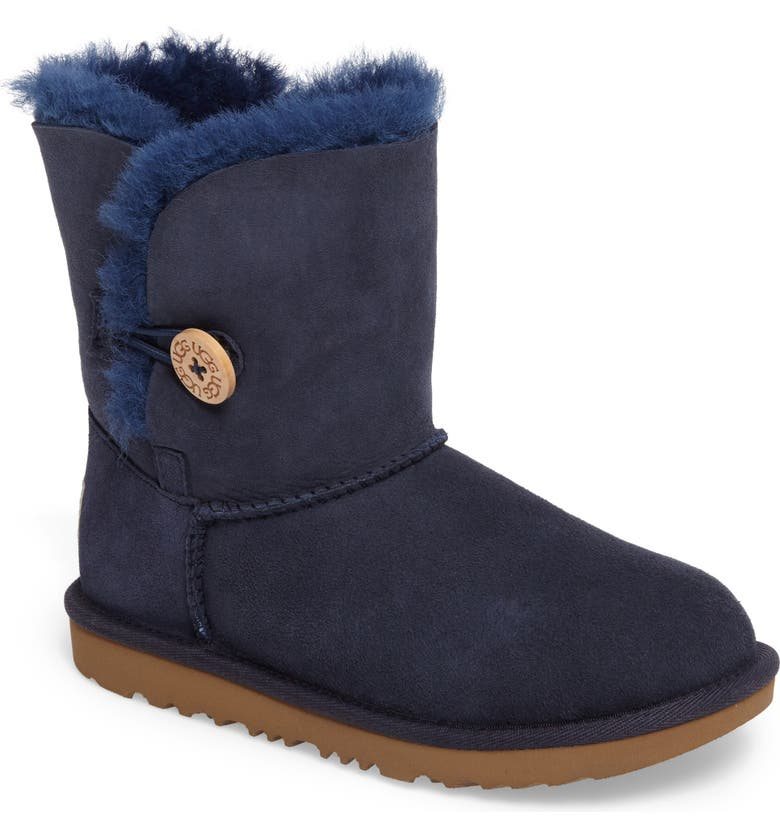 UGG<SUP>®</SUP> Bailey Button II Water Resistant Genuine Shearling Boot, Main, color, NAVY SUEDE