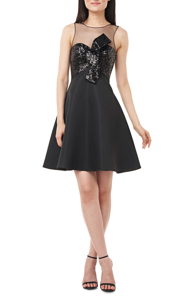 LOVE BY THEIA Sequin Knot Satin Party Dress, Main, color, BLACK