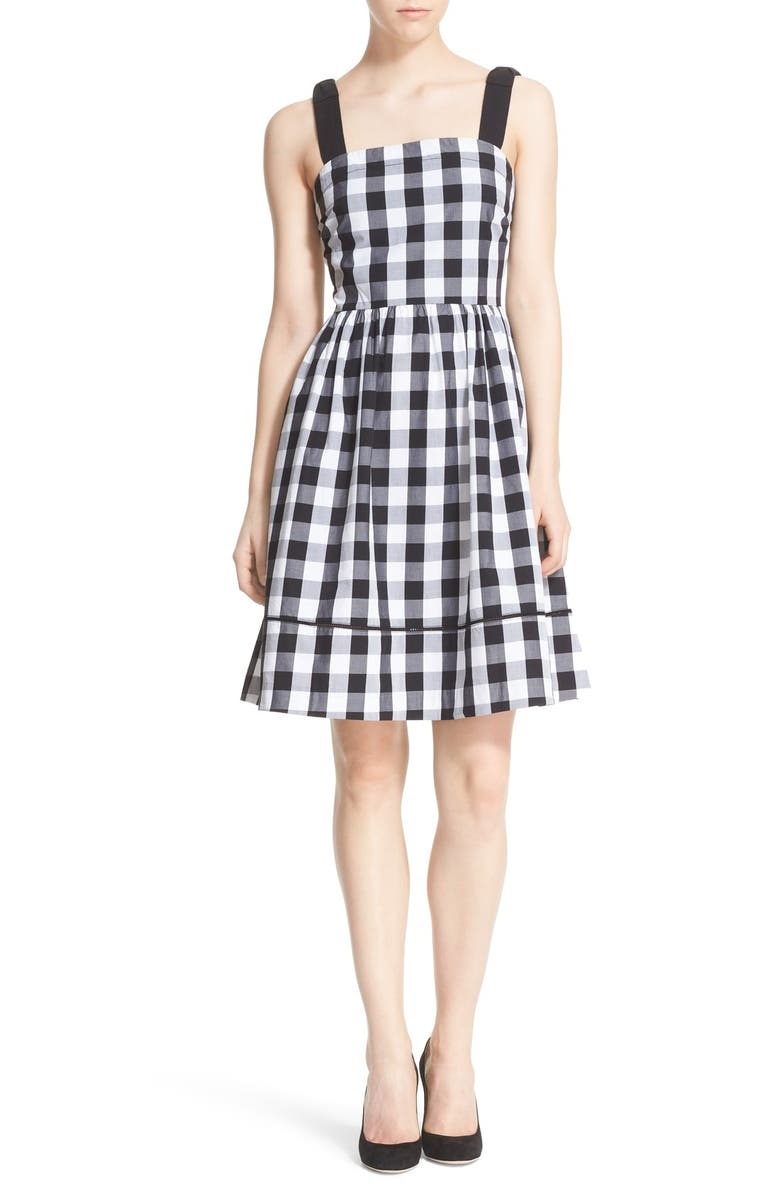 KATE SPADE NEW YORK gingham fit & flare dress, Main, color, 005