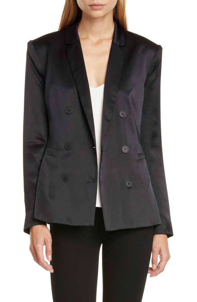L'AGENCE Colin Silk Satin Double Breasted Blazer, Main, color, BLACK